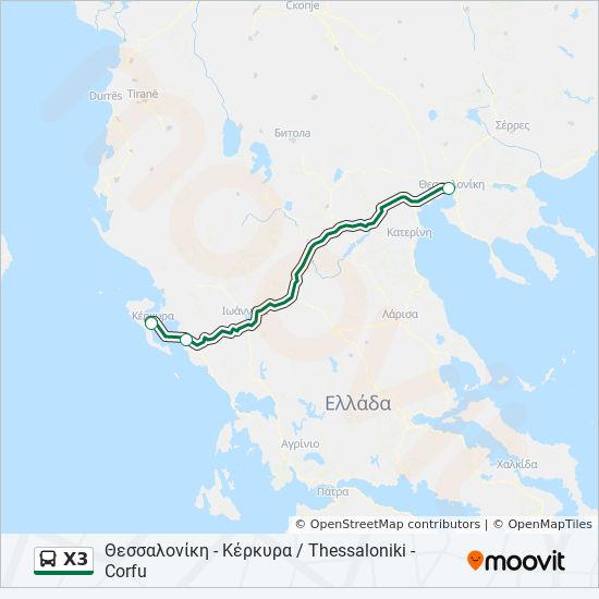 Thessaloniki Karte.Linie X3 Fahrpläne Haltestelle Karten θεσσαλονίκη κέρκυρα