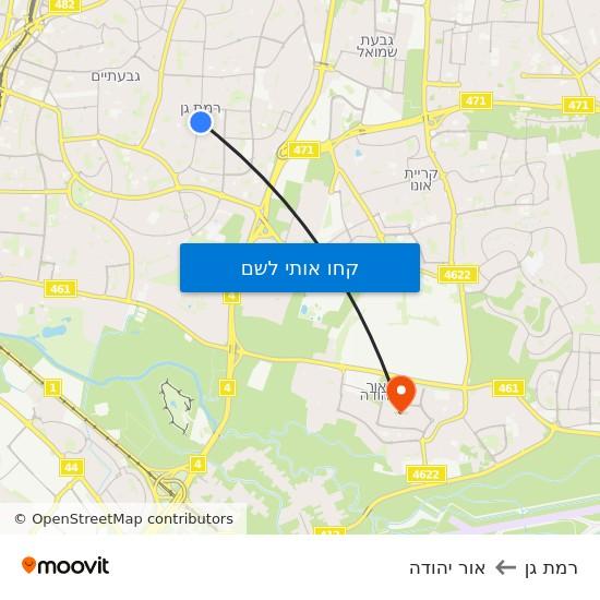 מפת רמת גן לאור יהודה