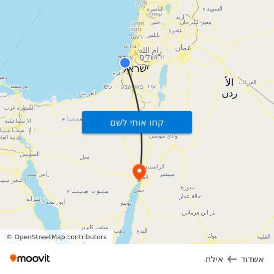 מפת אשדוד לאילת