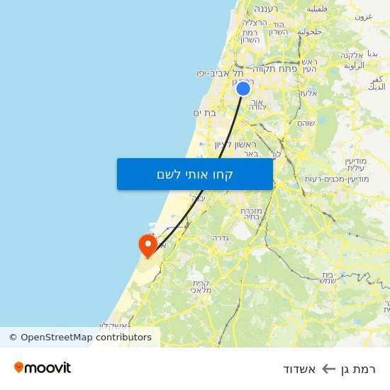 מפת רמת גן לאשדוד