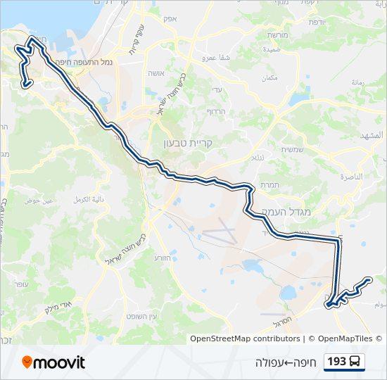 מפת המסלול של קו  193