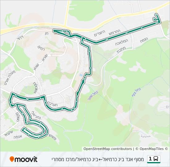 שונות קו 1: לוח זמנים, תחנות ומפות - מסוף אגד ביג כרמיאל ← ביג כרמיאל DI-23