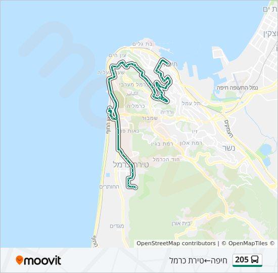 מפת המסלול של קו  205