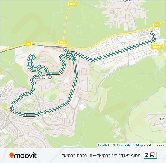 למעלה קו 2: לוח זמנים, תחנות ומפות - מסוף אגד ביג כרמיאל ← ת. רכבת כרמיאל HY-93