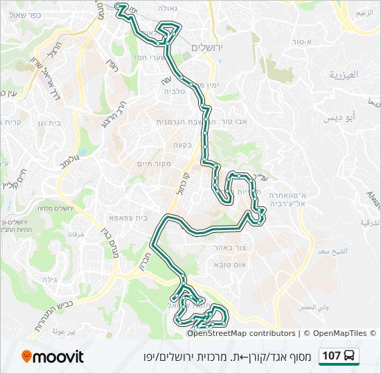 מפת המסלול של קו  107