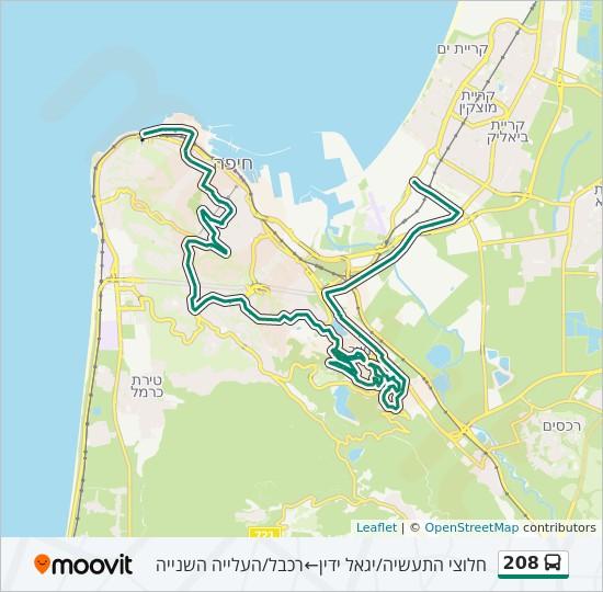 מפת המסלול של קו  208
