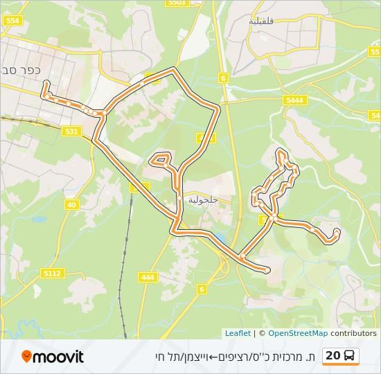 מפת המסלול של קו  20