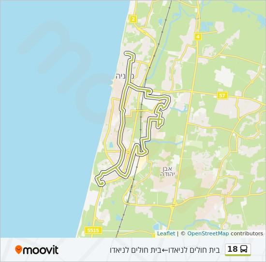 מפת המסלול של קו  18