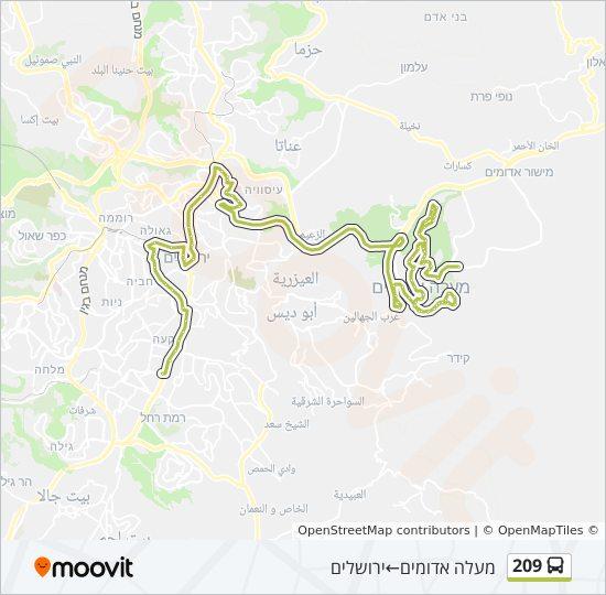 מפת המסלול של קו  209