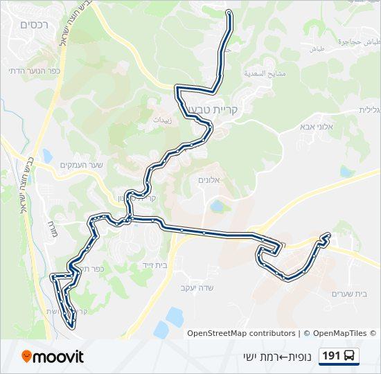 מפת המסלול של קו  191