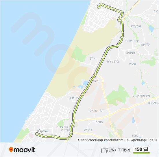 מיוחדים קו 150: לוח זמנים, תחנות ומפות - אשדוד ← אשקלון YR-87