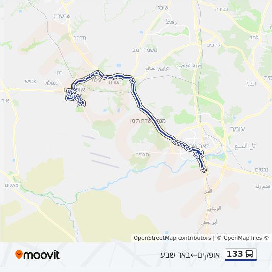 מפת המסלול של קו  133