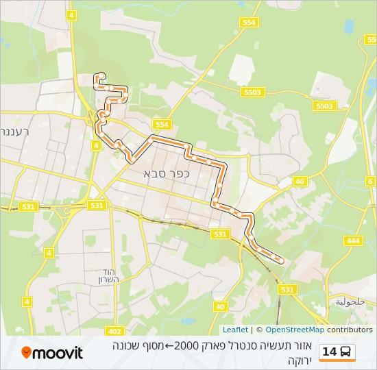 מפת המסלול של קו  14