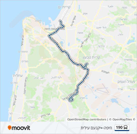 מפת המסלול של קו  190