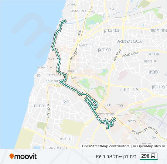 מפת המסלול של קו  296