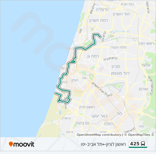 מפת המסלול של קו  425