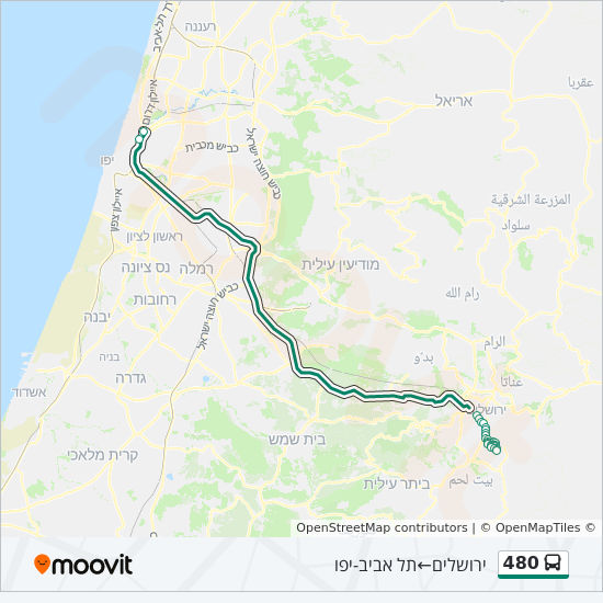 480 Route: Time Schedules, Stops & Maps - תל אביב-יפו →ירושלים