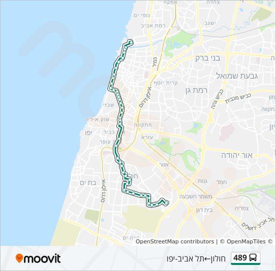 מפת המסלול של קו  489