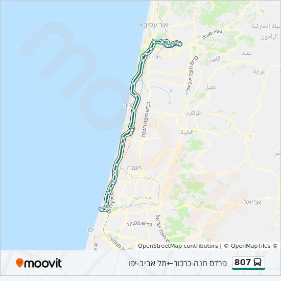 מפת המסלול של קו  807