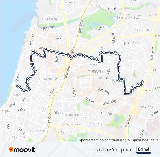 מפת המסלול של קו  61