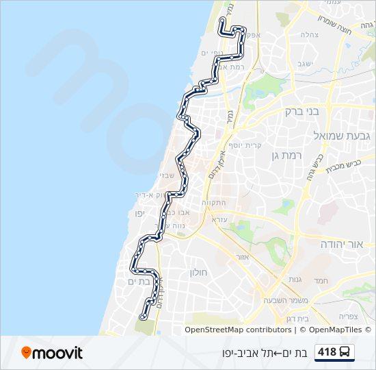 מפת המסלול של קו  418
