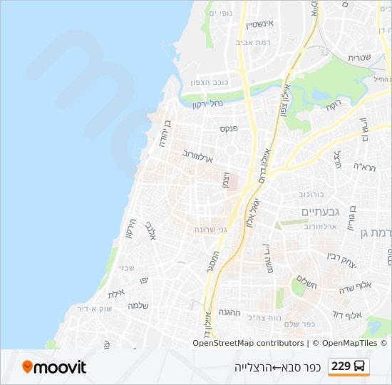 מפת המסלול של קו  229