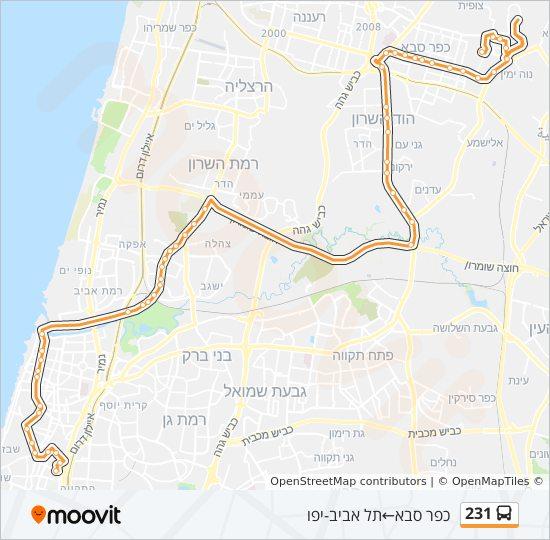מפת המסלול של קו  231