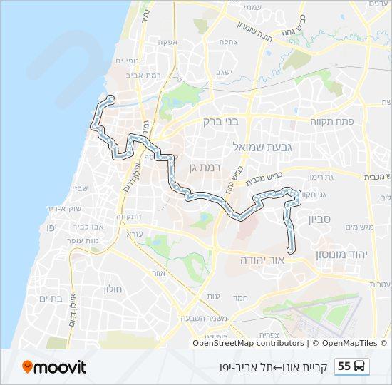 מפת המסלול של קו  55
