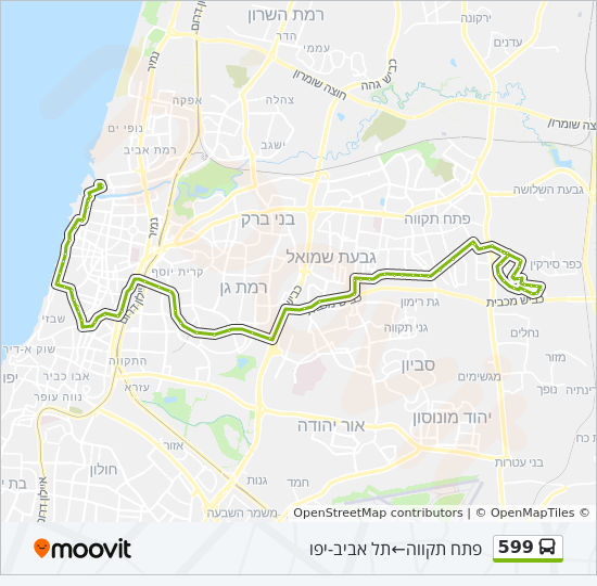מפת המסלול של קו  599