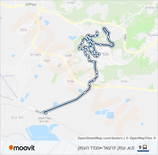 בנפט קו 9: לוח זמנים, תחנות ומפות - מ.א. עמק יזרעאל ← מגדל העמק PZ-75