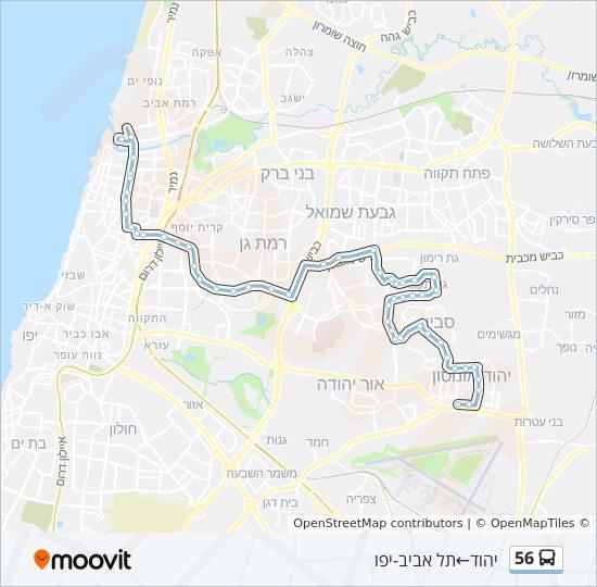 מפת המסלול של קו  56