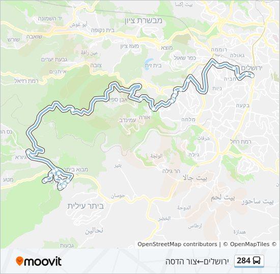 מפת המסלול של קו  284