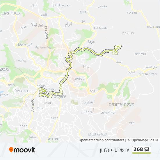 מפת המסלול של קו  268