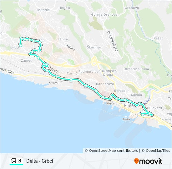 3 Route: Time Schedules, Stops & Maps - Delta - Grbci