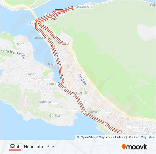 3 Route: Time Schedules, Stops & Maps - Pile - Nuncijata on
