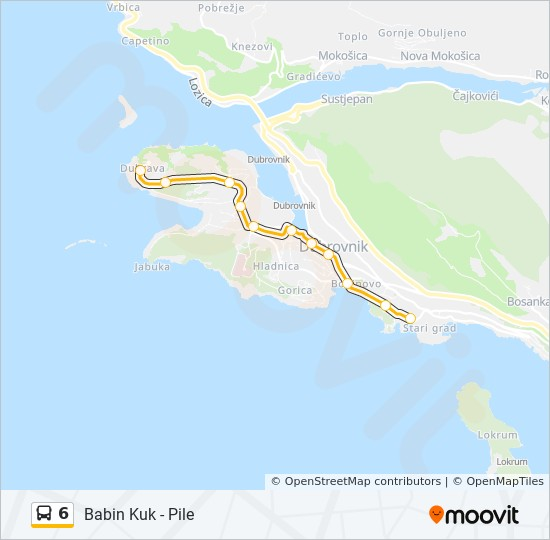 6 Route: Time Schedules, Stops & Maps - Babin Kuk - Pile on