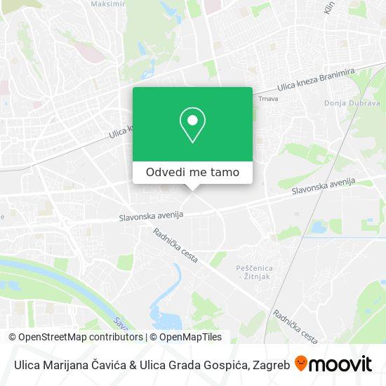 Karta Ulica Marijana Čavića & Ulica Grada Gospića
