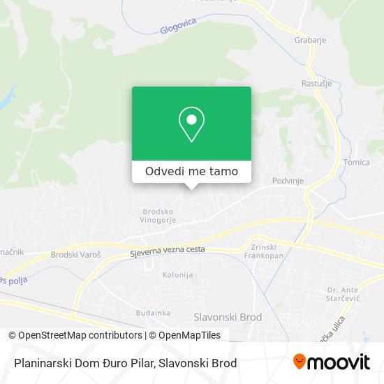 Karta Planinarski Dom Đuro Pilar