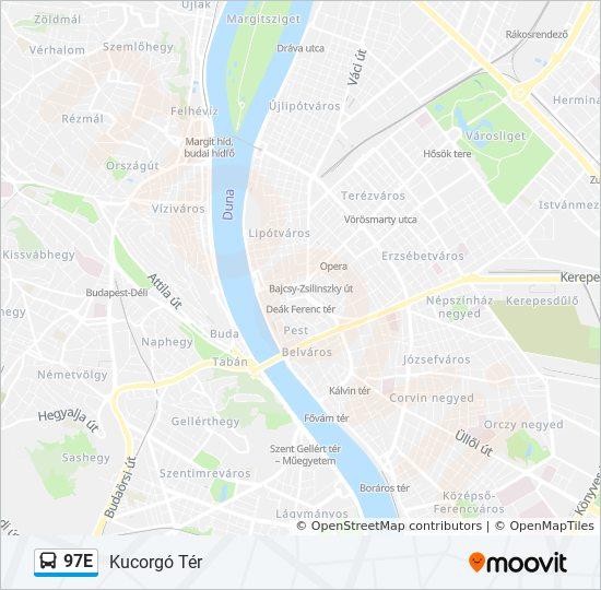 Línea 97E: horarios, mapas y paradas - Kucorgó Tér on