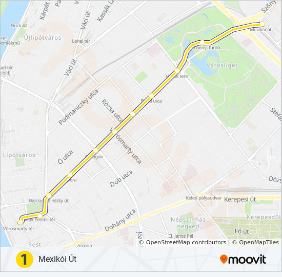 M1 Utvonal Menetrendek Megallok Es Terkepek Vorosmarty Ter