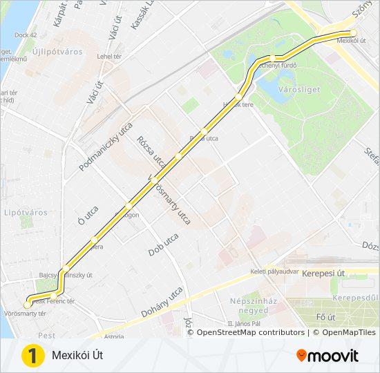 M1 Utvonal Menetrendek Megallok Es Terkepek Mexikoi Ut