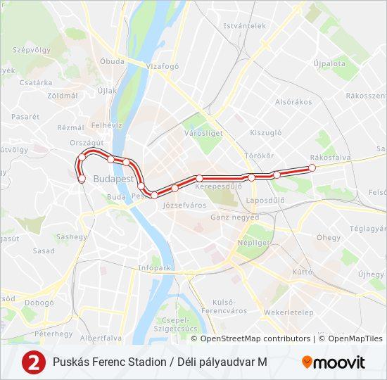 Metro Karte Budapest.Linie M2 Fahrpläne Haltestelle Karten Déli Pályaudvar M