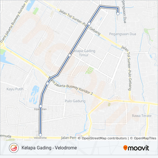 1 Route: Time Schedules, Stops & Maps - Kelapa Gading - Velodrome