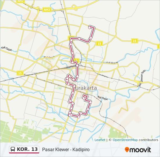 KOR. 13 Route: Time Schedules, Stops & Maps - Kadipiro