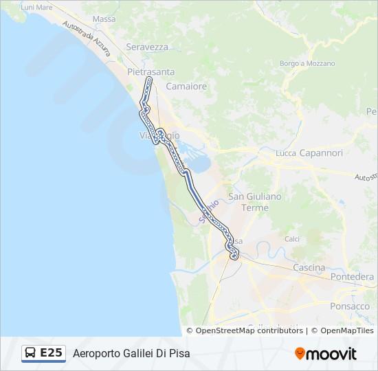 Pisa Karte.Linie E25 Fahrpläne Haltestelle Karten Aeroporto Galilei Di Pisa