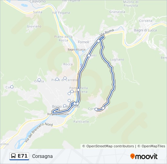 E71 Route Time Schedules Stops Maps P Za Guastucci