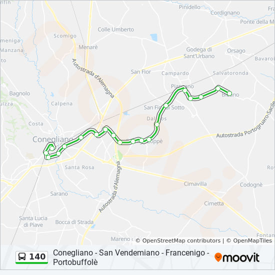 Savno San Vendemiano.140 Route Time Schedules Stops Maps Bibano Posta