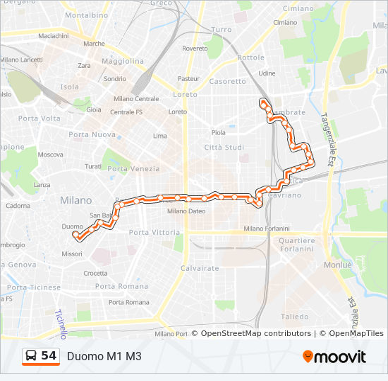 Plan de la ligne 54 de bus