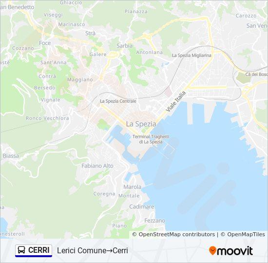Lerici Italy Map.Cerri Route Time Schedules Stops Maps Lerici Comune Cerri