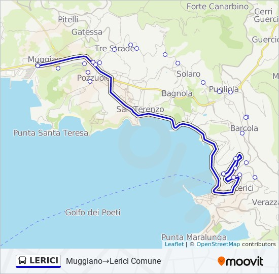 Lerici Italy Map.Lerici Route Time Schedules Stops Maps Muggiano Lerici Comune